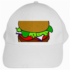 Fast Food Lunch Dinner Hamburger Cheese Vegetables Bread White Cap by Mariart