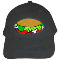 Fast Food Lunch Dinner Hamburger Cheese Vegetables Bread Black Cap by Mariart