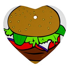 Fast Food Lunch Dinner Hamburger Cheese Vegetables Bread Ornament (heart) by Mariart