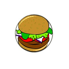 Fast Food Lunch Dinner Hamburger Cheese Vegetables Bread Hat Clip Ball Marker (4 Pack) by Mariart