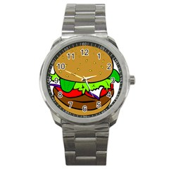 Fast Food Lunch Dinner Hamburger Cheese Vegetables Bread Sport Metal Watch by Mariart