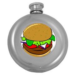 Fast Food Lunch Dinner Hamburger Cheese Vegetables Bread Round Hip Flask (5 Oz) by Mariart