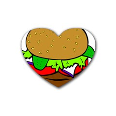 Fast Food Lunch Dinner Hamburger Cheese Vegetables Bread Rubber Coaster (heart)  by Mariart