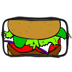 Fast Food Lunch Dinner Hamburger Cheese Vegetables Bread Toiletries Bags 2 Side by Mariart