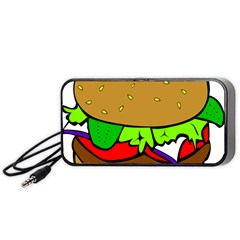 Fast Food Lunch Dinner Hamburger Cheese Vegetables Bread Portable Speaker (black) by Mariart