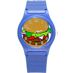 Fast Food Lunch Dinner Hamburger Cheese Vegetables Bread Round Plastic Sport Watch (s) by Mariart