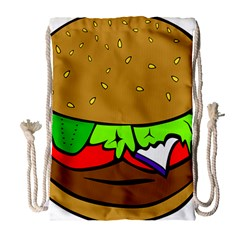 Fast Food Lunch Dinner Hamburger Cheese Vegetables Bread Drawstring Bag (large) by Mariart