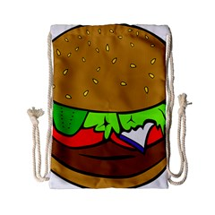 Fast Food Lunch Dinner Hamburger Cheese Vegetables Bread Drawstring Bag (small) by Mariart