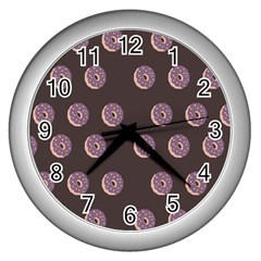 Donuts Wall Clocks (silver)  by Mariart