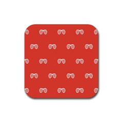 Glasses Disco Retina Red White Line Rubber Coaster (square)  by Mariart