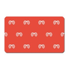 Glasses Disco Retina Red White Line Magnet (rectangular) by Mariart