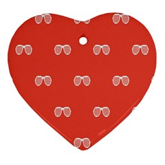 Glasses Disco Retina Red White Line Heart Ornament (two Sides) by Mariart