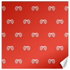 Glasses Disco Retina Red White Line Canvas 12  X 12   by Mariart