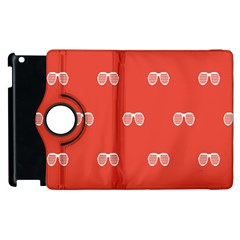 Glasses Disco Retina Red White Line Apple Ipad 2 Flip 360 Case by Mariart