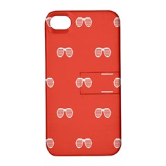Glasses Disco Retina Red White Line Apple Iphone 4/4s Hardshell Case With Stand by Mariart