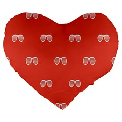 Glasses Disco Retina Red White Line Large 19  Premium Flano Heart Shape Cushions by Mariart