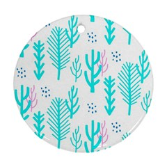 Forest Drop Blue Pink Polka Circle Ornament (round) by Mariart