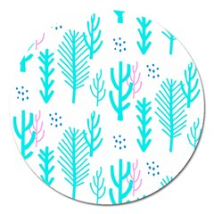 Forest Drop Blue Pink Polka Circle Magnet 5  (round) by Mariart