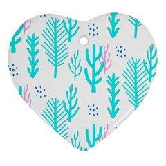 Forest Drop Blue Pink Polka Circle Heart Ornament (two Sides) by Mariart