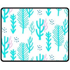 Forest Drop Blue Pink Polka Circle Fleece Blanket (medium)  by Mariart
