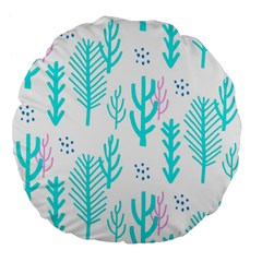 Forest Drop Blue Pink Polka Circle Large 18  Premium Flano Round Cushions by Mariart