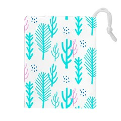 Forest Drop Blue Pink Polka Circle Drawstring Pouches (extra Large) by Mariart