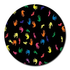 Hand And Footprints Round Mousepads