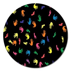 Hand And Footprints Magnet 5  (round) by Mariart
