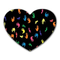 Hand And Footprints Heart Mousepads by Mariart