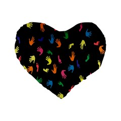 Hand And Footprints Standard 16  Premium Flano Heart Shape Cushions by Mariart