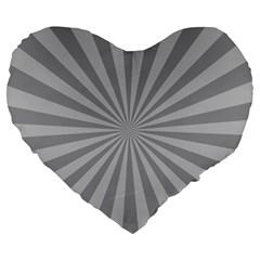 Grey Starburst Line Light Large 19  Premium Flano Heart Shape Cushions by Mariart