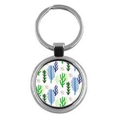 Forest Green Drop Blue Brown Polka Circle Key Chains (round)  by Mariart