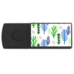 Forest Green Drop Blue Brown Polka Circle Usb Flash Drive Rectangular (4 Gb) by Mariart