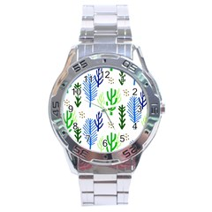 Forest Green Drop Blue Brown Polka Circle Stainless Steel Analogue Watch by Mariart