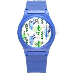 Forest Green Drop Blue Brown Polka Circle Round Plastic Sport Watch (s) by Mariart