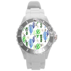 Forest Green Drop Blue Brown Polka Circle Round Plastic Sport Watch (l) by Mariart