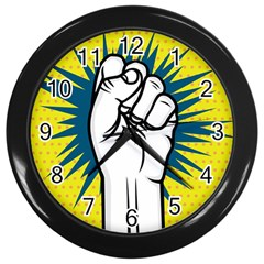 Hand Polka Dot Yellow Blue White Orange Sign Wall Clocks (black) by Mariart