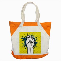 Hand Polka Dot Yellow Blue White Orange Sign Accent Tote Bag by Mariart