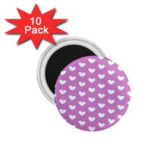 Heart Love Valentine White Purple Card 1 75  Magnets (10 Pack)  by Mariart