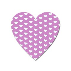 Heart Love Valentine White Purple Card Heart Magnet by Mariart