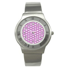 Heart Love Valentine White Purple Card Stainless Steel Watch by Mariart