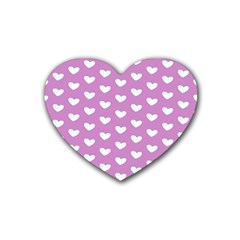 Heart Love Valentine White Purple Card Rubber Coaster (heart)  by Mariart