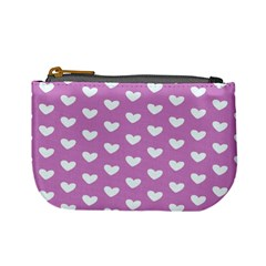 Heart Love Valentine White Purple Card Mini Coin Purses by Mariart