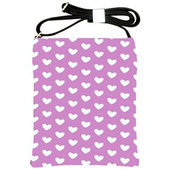 Heart Love Valentine White Purple Card Shoulder Sling Bags by Mariart