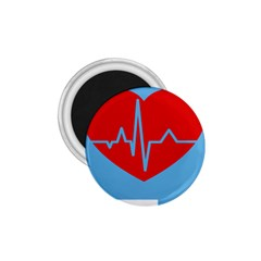 Heartbeat Health Heart Sign Red Blue 1 75  Magnets by Mariart
