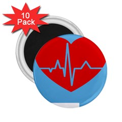 Heartbeat Health Heart Sign Red Blue 2 25  Magnets (10 Pack)  by Mariart