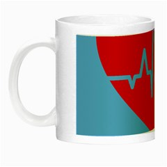 Heartbeat Health Heart Sign Red Blue Night Luminous Mugs by Mariart