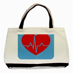 Heartbeat Health Heart Sign Red Blue Basic Tote Bag by Mariart