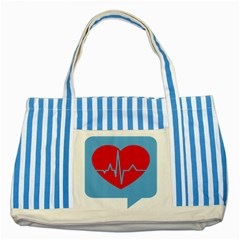 Heartbeat Health Heart Sign Red Blue Striped Blue Tote Bag by Mariart