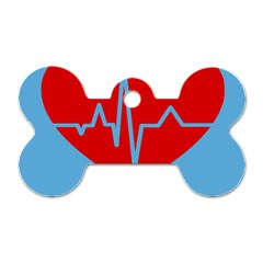 Heartbeat Health Heart Sign Red Blue Dog Tag Bone (one Side) by Mariart